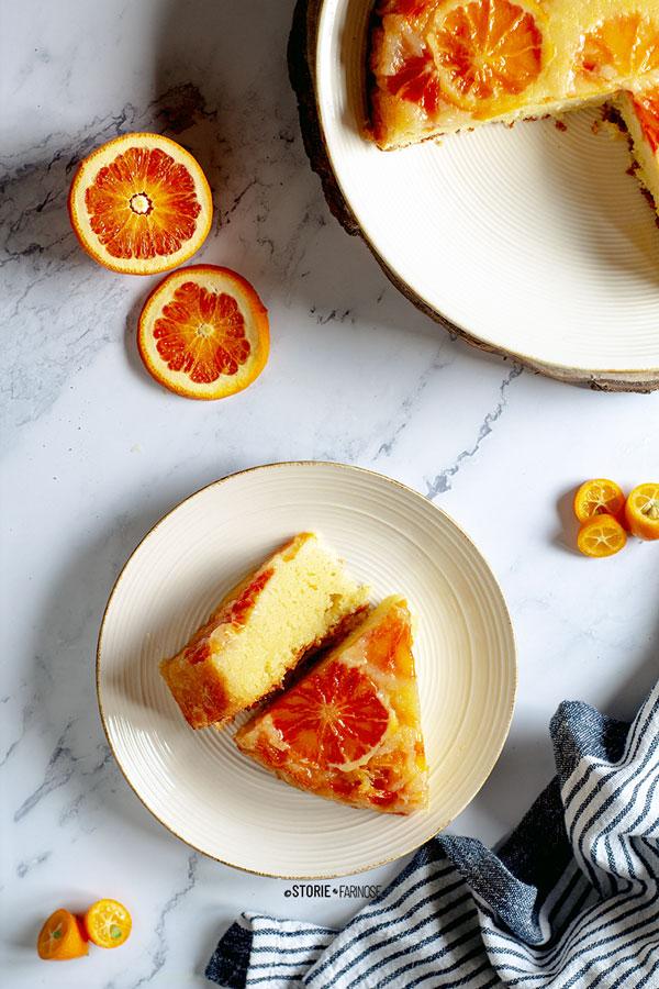 upside down cake all'arancia fette