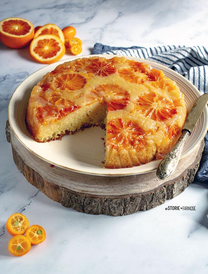 upside down cake all'arancia con taglio
