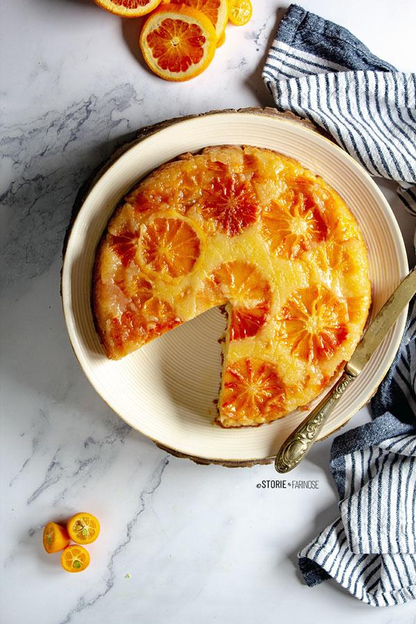 upside down cake arancia e clementine taglio